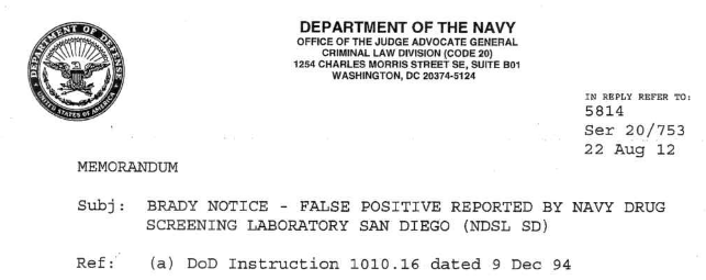 GC-MS false positives documented by Department of Navy